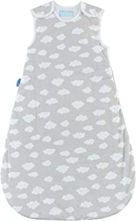 Tommee Tippee Grobag Newborn Baby Cotton Sleeping Bag, Sleeping Sack - 2.5 Tog for 60-68 Degree F - Fluffy Clouds - Small Size, 0-6 Months, Turquoise, Grey