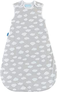 Tommee Tippee Grobag Newborn Baby Cotton Sleeping Bag, Sleeping Sack - Warm 2.5 Tog for 60-68 Degree F - Fluffy Clouds - Small Size, 0-6 Months, Grey