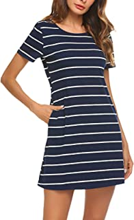 Women's Casual Striped Criss Cross Short/Long Sleeve T Shirt Dress with Pockets