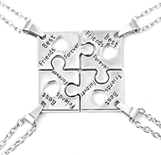 FJ BFF Best Friend Forever Necklace Engraved Puzzle Sister Necklace for 3/4