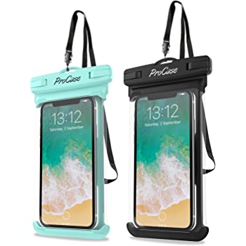 "Funda Impermeable Universal, ProCase Bolsa Estanca para iPhone SE 2020/X/8/7/7 Plus/6S/6/6S Plus, Samsung Galaxy S20/S20+/S20 Ultra 5G/S9/S8 Plus/Note 8 6 5 4, Google Pixel 2 HTC LG Sony MOTO hasta 6,9"" -2 Unidades, Verde/Negro"