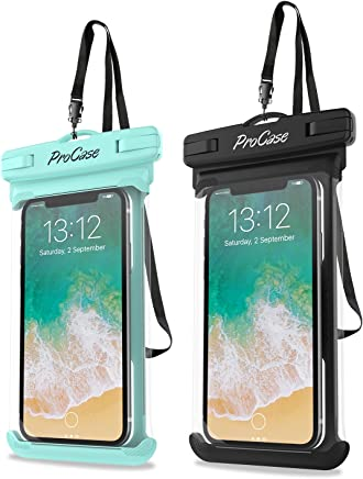 """ProCase Universal Waterproof Case Cellphone Dry Bag Pouch for iPhone Xs Max XR XS X 8 7 6S Plus, Galaxy S10 Plus S10 S10e S9/Note 9, Pixel 3 XL HTC LG Sony Moto up to 6.5"""" -2 Pack, Green/Black"""