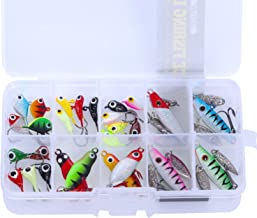 Goture Ice Fishing Jig Kit with Carbon Steel Hooks in Tackle Box, Winter Ice Fishing Lures for Bass Pike Trout Walleye