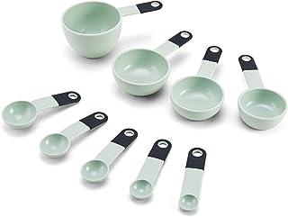 KitchenAid Classic Measuring Cups and Spoons Set, Set of 9, Pistachio/Black