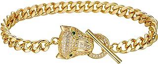 Flyonce Halloween Leopard Bracelet Cubic Zirconia Animal Panther Chain Link Bracelet for Women