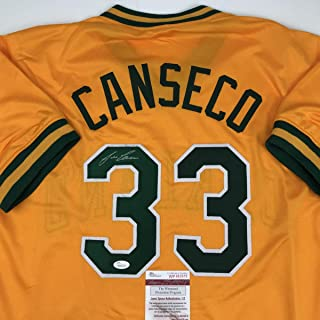 288961ced14 Autographed/Signed Jose Canseco Oakland Yellow Baseball Jersey JSA COA