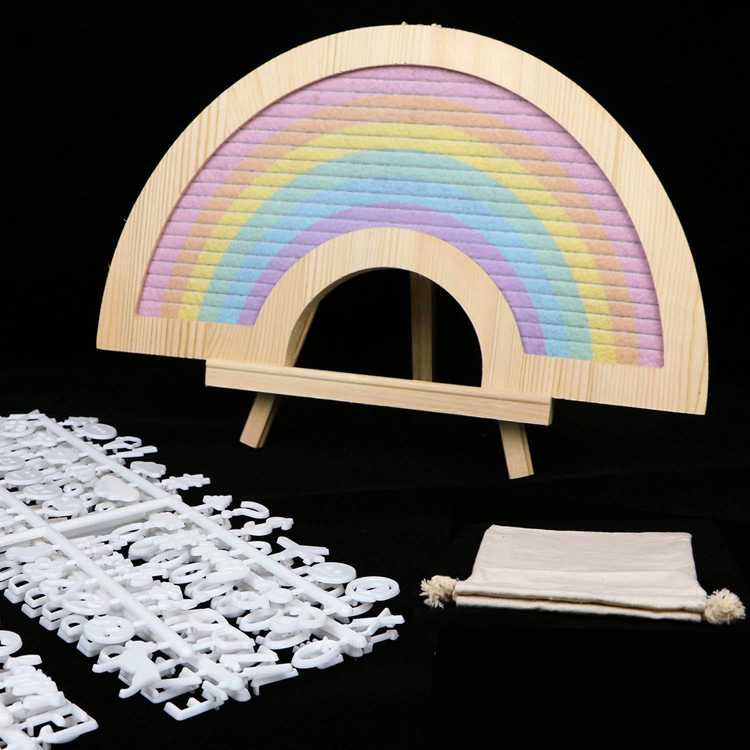 Rainbow Ranking TOP1 Felt Letter Board with overseas Stand White 12.5x7 Inch Le 418