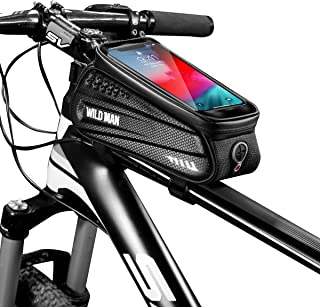 COOREE Bike Phone Mount Bag, Cycling Waterproof Front Frame Top Tube Handlebar Bag with Touch Screen Large Capacity Phone Case for Cellphone Below 6.5''