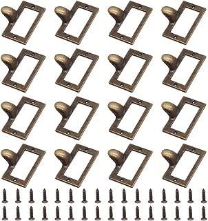 LepoHome 16 Pieces 58x46mm Antique Bronze Card Holder Drawer Pull/Label Frames Card/Tag Pull/Cabinet Frame Handle/File Name Card Holder for Office Furniture Cupboard Cabinet Drawer Box Case Hardware