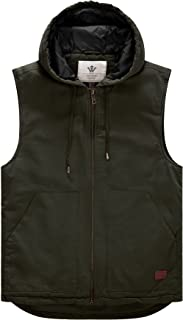 Men's Quilted Lined Multi Pockets Casual Vest with Hood