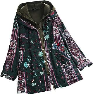 Coat Jacket Overcoat,Women Plus Size Button Outwear Ladies Autumn Winter Vintage Print Warm Coat Jacket Overcoat