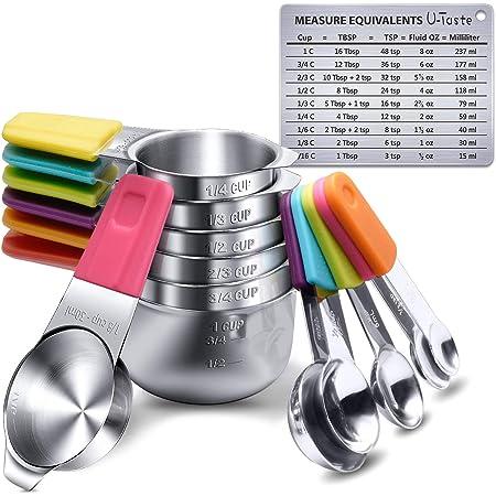 U-Taste Tazas Medidoras Magnéticas y Cucharas Juego de 13 en Acero Inoxidable 18/8, 7 Tazas Medidoras y 5 Cucharas Medidoras con 1 Tabla de Conversión de Medida Magnética Profesional
