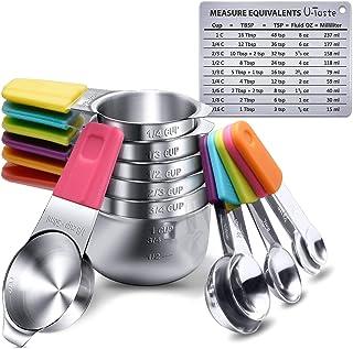 Tazas Medidoras Magnéticas y Cucharas U-Taste Juego de 13 en Acero Inoxidable 18/8, 7 Tazas Medidoras y 5 Cucharas Medidor...