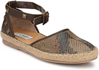 Delize Black/Brown Flat Sandals for Women's
