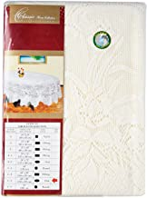 """Dolphin Collection Polyester Lace Tablecloth 60X90"""" Oval (Beige)"""