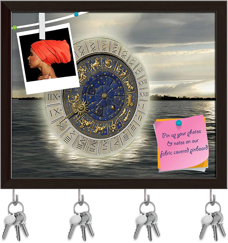 Artzfolio Timeless Vibration Key Holder Hooks   Notice Pin Board   Dark Brown Frame 19.5 X 16Inch