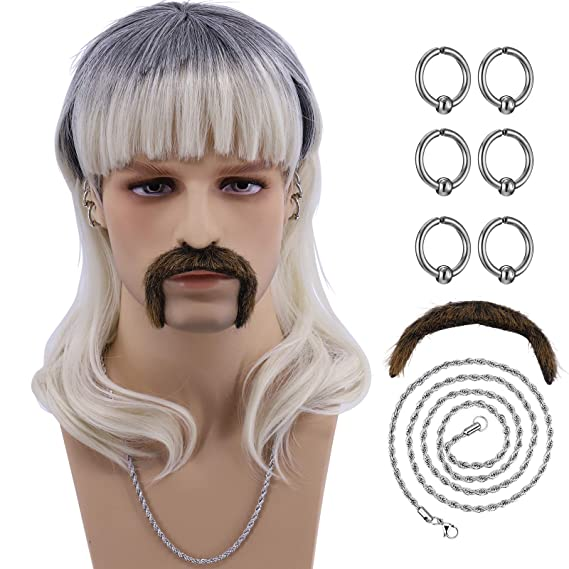 Hulaidywig Cosplay Wig Costume Set for Men (6 Earrings - Mustache - Necklace - Wig)