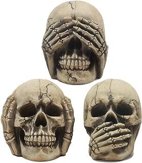 Ebros Gothic Alchemy See Hear Speak No Evil Grinning Skulls Statue Set of Three 4