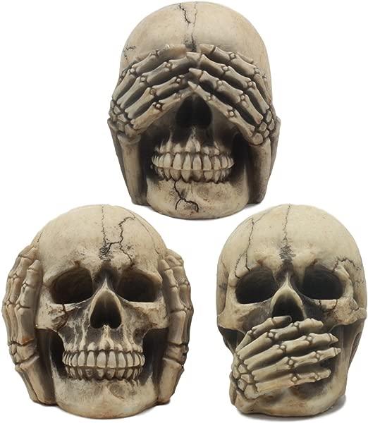 Ebros 哥特式炼金术见听说不邪恶咧着嘴笑的头骨雕像三套 4 高万圣节装饰骨灰盒墓地雕像