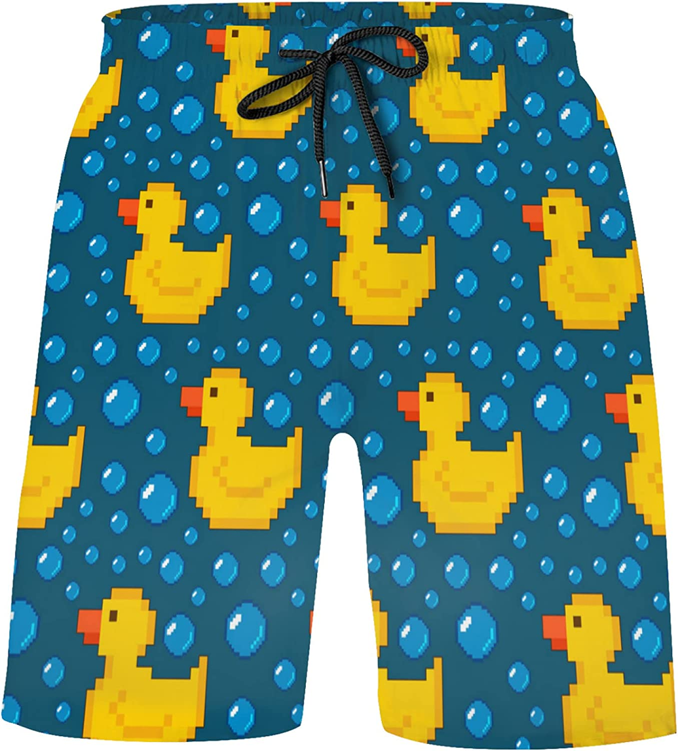 Yellow Rubber Duck On Turquoise Bubble Bathing Suits Athletic Beach Shorts Swim Trun