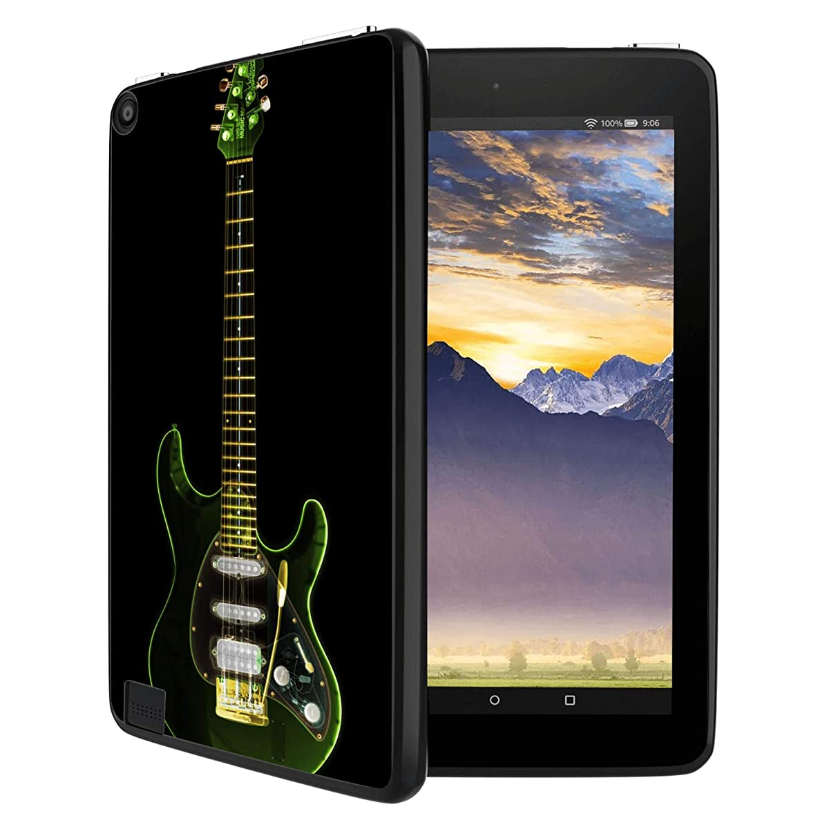 GinHo Customized Protective Cover with Slim Soft Durable TPU Ultra-Black Silicone UV Printing Case for Guitar Kindle Fire 8