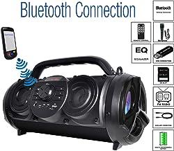 "Boytone BT-18BK Portable Bluetooth Boombox Speaker, Indoor/Outdoor, 25W, Loud Sound, Deeper Bass, EQ, 5"" Subwoofer, 2 x 3.25 Tweeter, FM, 9H Playtime, USB, Micro SD, AUX, Microphone, Recording, Light"
