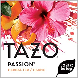 TazoPassion Enveloped Hot Tea Bags Herbal, Caffeine Free, Non GMO, 24 count, Pack of 6