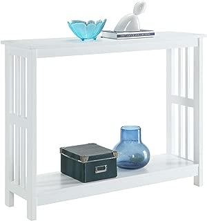 White Finish 2-Tier Occasional Console Sofa Table Bookshelf