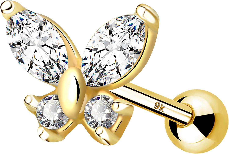 JEWSEEN 9K Gold Cartilage Earrings 16g Tragus Earring Butterfly Helix Conch Earring Body Piercing Jewelry for Women and Girls Gift