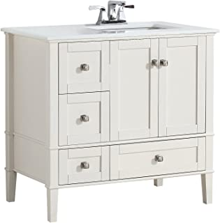 Simpli Home NL-HHV029-36-2A-R Chelsea 36 inch Contemporary Bath Vanity in Soft White with White Engineered Quartz Marble Top