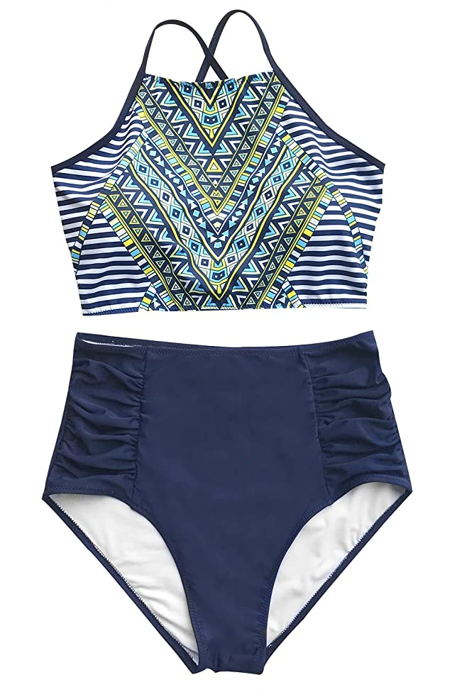 CUPSHE Women's Riddle Story Print Bikini Set Tie Back High Waisted Swimwear