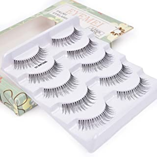 False Eyelashes 5 Pairs Reusable 3D Handmade Multipack Black Premium Quality Fashion Soft Natural Looking Style by EYEMEI