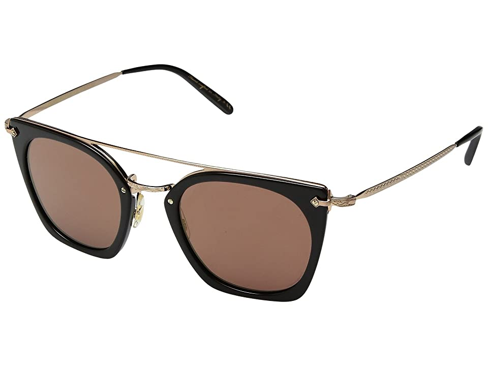 Oliver Peoples Dacette (Dark Military/Brushed Gold/Graphite Gold Mirror) Fashion Sunglasses
