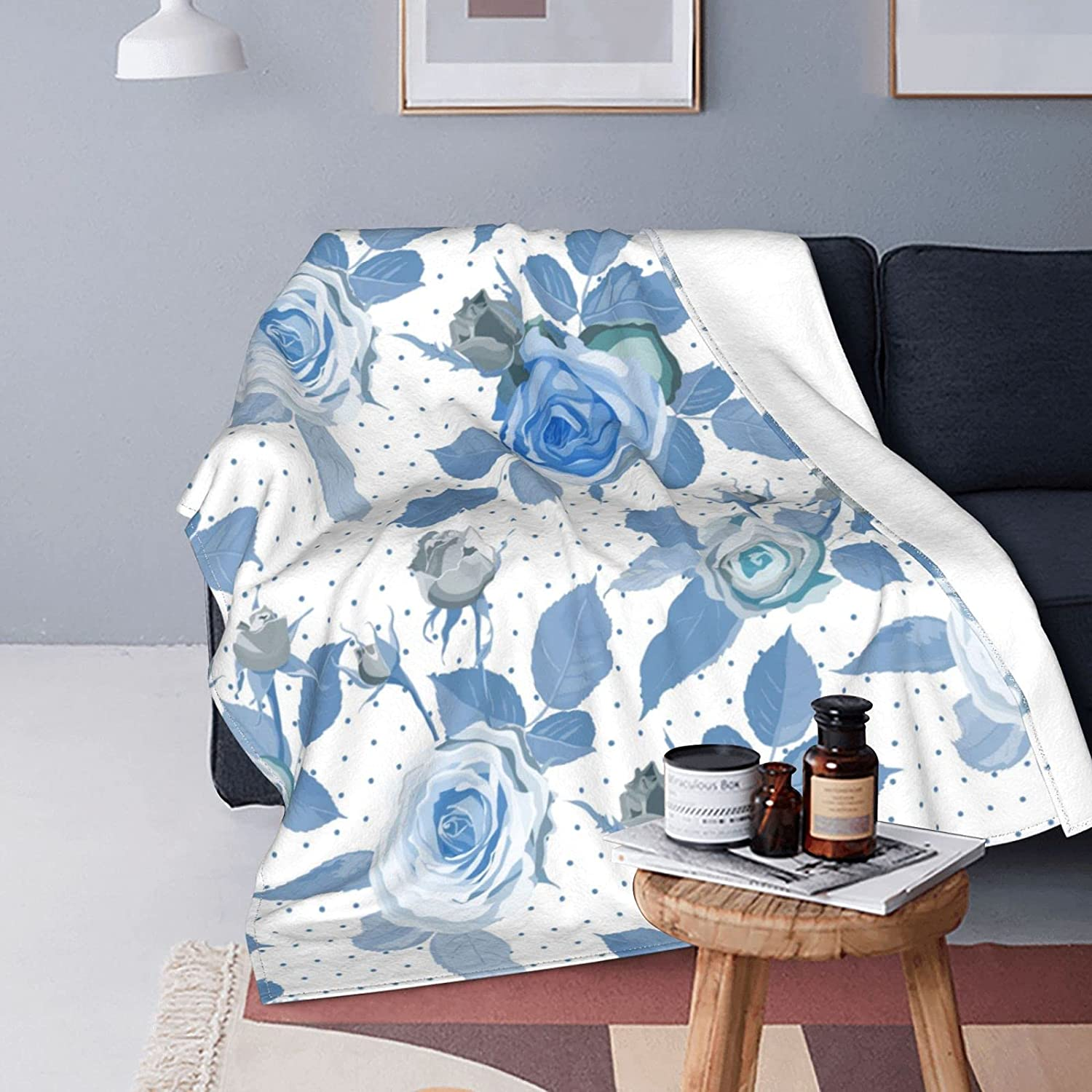 Blue Rose Flower Double-Sided Air-Conditioning Fees free Flannel Blanket Many popular brands S