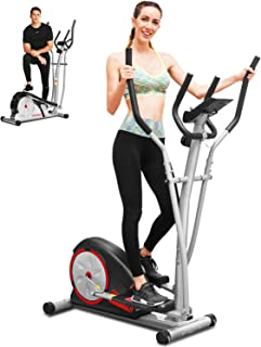 ANCHEER Elliptical Machine, Elliptical Trainer Machine with Pulse Rate Grips and LCD Monitor, Magnetic Smooth Quiet Driven for Home Using