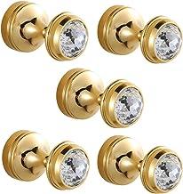 CASEWIND Garderobehaken goud, kledinghaken wandmontage, handdoekhouder messing set van 5 kristallen met boren voor badkamer