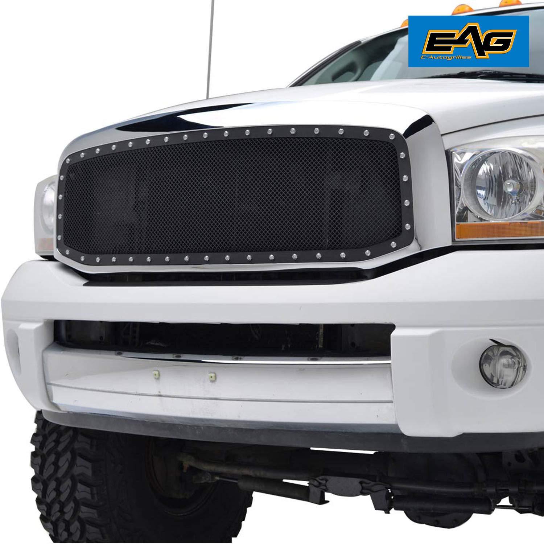 EAG Black Rivet Mesh Grille Grill Fit for 03-05 Chevrolet Silverado1500//2500//3500 Grille
