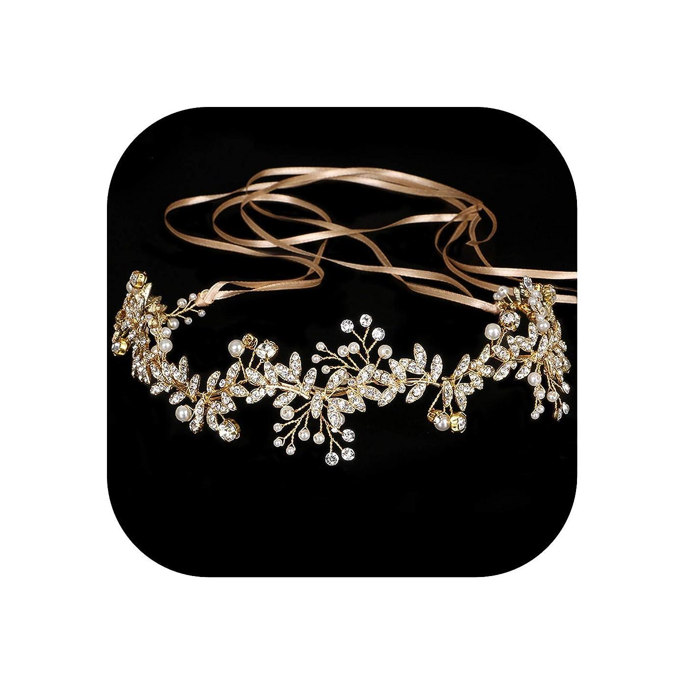 Vintage Diamante 100% Handmade Bridal Headband Gold Pearl Wedding Hairpieces Wedding Hair Tiaras Re733,Gold-Color