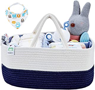 HOMEST XL Cotton Rope Baby Diaper Caddy Organizer with 1 Bandana Drool Bibs, Nursery Essentials Storage Bins for Changing Table and Car, Shower Gift Bag, White and Blue