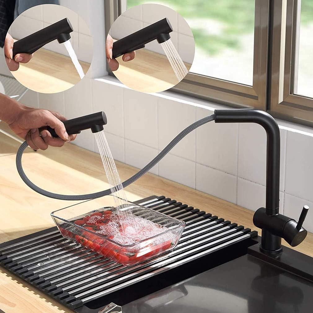 CECIPA X207B Grifo de Cocina negro, Grifo Cocina extraible, Grifos para fregadero de Cocina con 2 Modos de Rociador, Caño Giratorio 360 °, Acero Inoxidable SUS304
