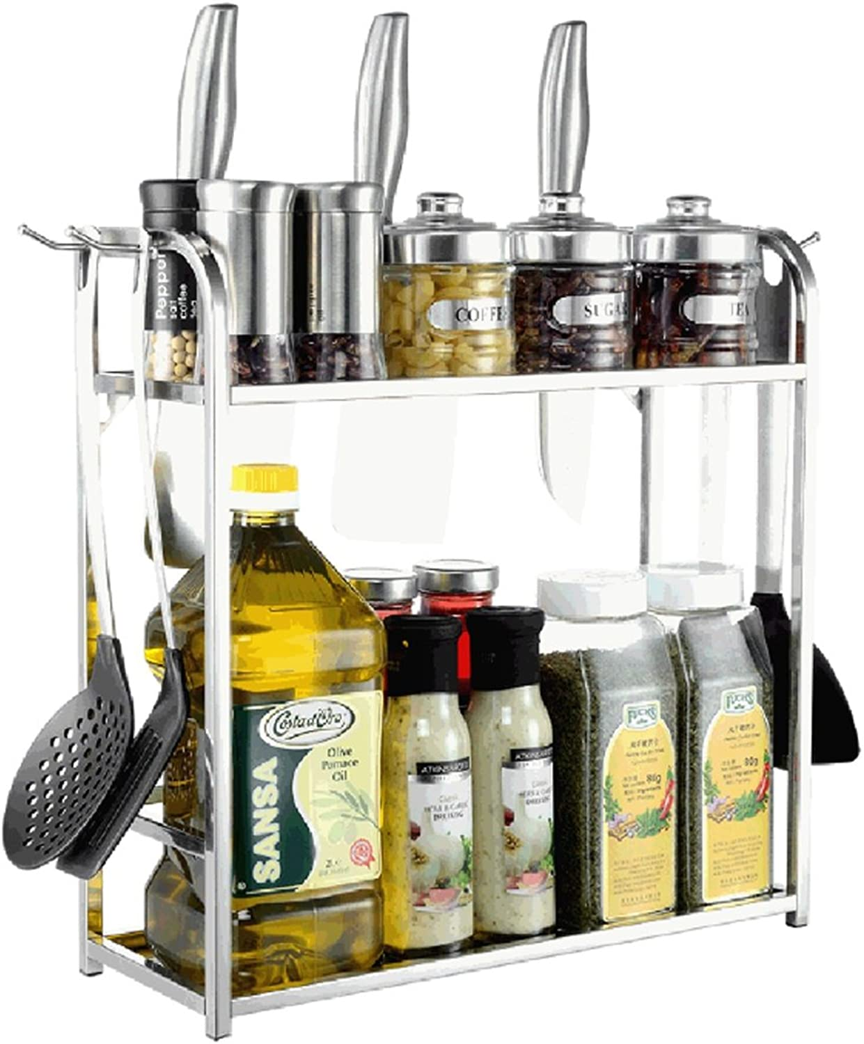 PeaceipUS 304 Stainless Steel Kitchen Rack Storage Rack Turret Double Hopper (Size   30CM)