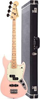 $724 Get Fender Offset Series Mustang Bass PJ MN Shell Pink w/3-Ply Mint Pickguard (CME Exclusive) and Fender Mustang Bass Case Bundle