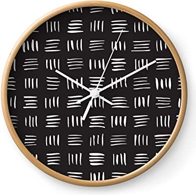 Society6 Lines On Lines // White by Rosewall Prints on Wall Clock - Natural - White