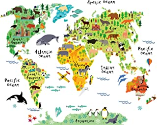 HomeEvolution Large Kids Educational Animal Landmarks World Map Peel & Stick Wall..