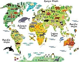 HomeEvolution Large Kids Educational Animal Landmarks World Map Peel & Stick Wall Decals Stickers Home Decor Art for Nursery