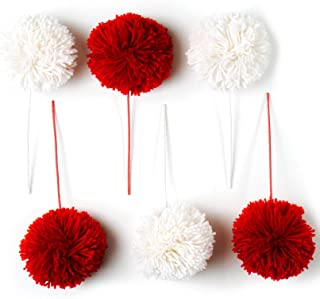 """CraftMore Red and White Pom Pom Pick 10"""" Set of 6"""