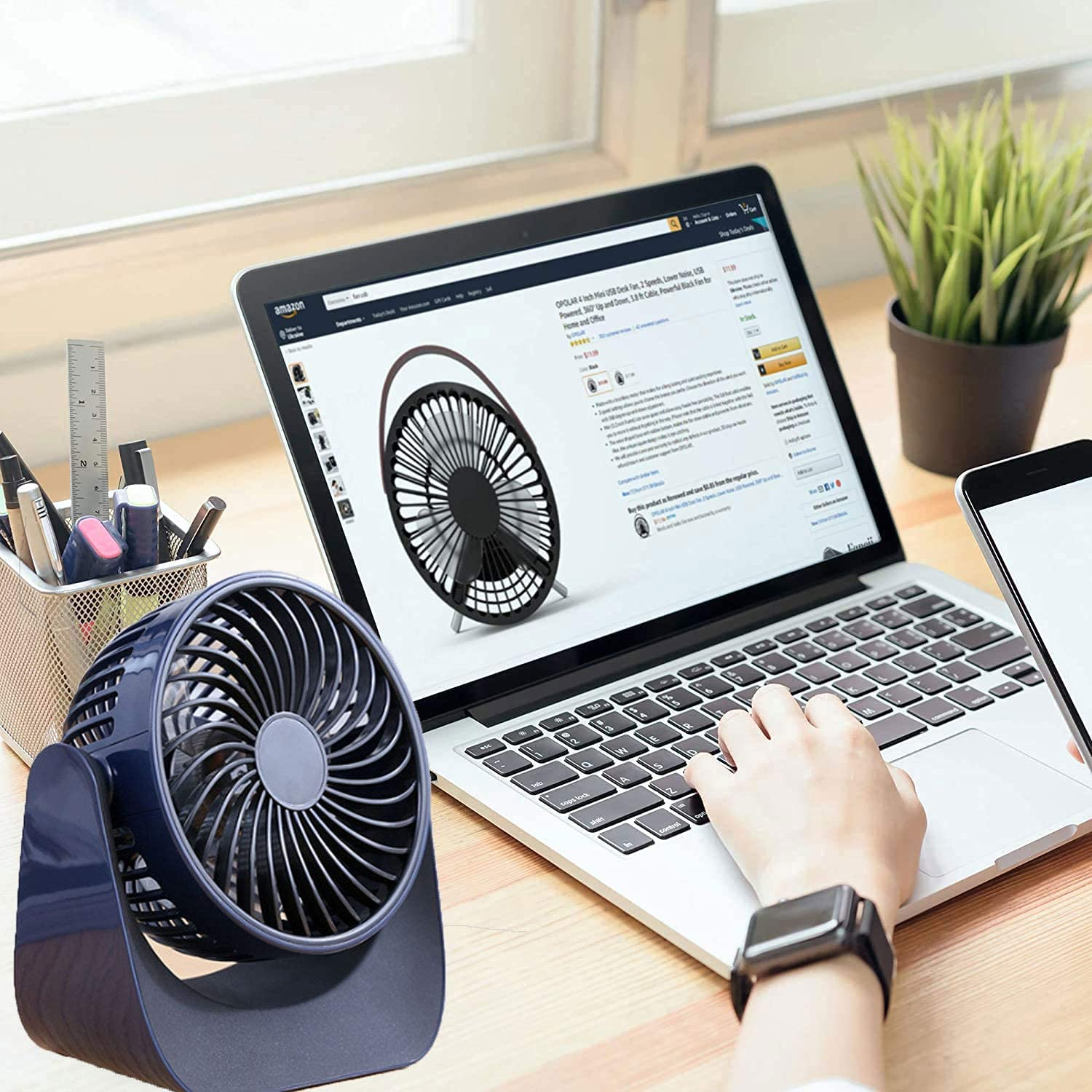 Jaxbo USB fan desk fan Small Portable Fan, Mini USB Fan, USB Portable Desk Fan with 360 Rotation, USB or Battery Operated Rechargeable for Outdoor, Room, Camping, Office, Travel, 7 inch(Navy Blue)…