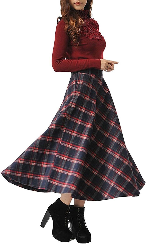 BININBOX Women's Winter High Waist ALine Long Skirt Thicken Checkered Skirt