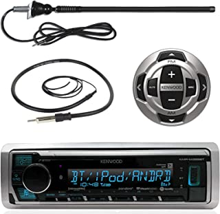 Kenwood Marine Digital Media Bluetooth Receiver, Wired Remote, Enrock AM/FM Antenna (Black), Antenna - 40