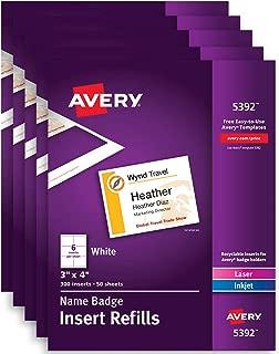 Avery Name Badge Inserts, Print or Write, 3